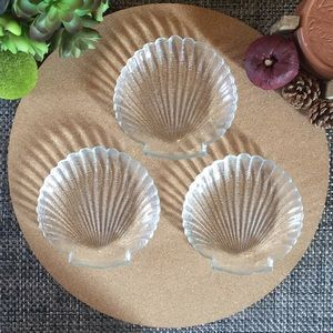 Vintage Clear Shell Glass Set of 3